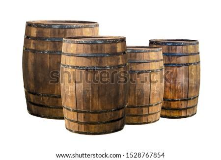 background oak barrels set in a row on a white basis pattern
