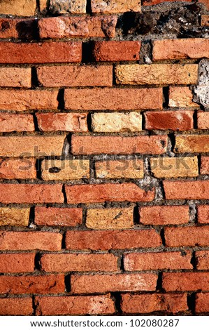 Background of a detailled red brick wall