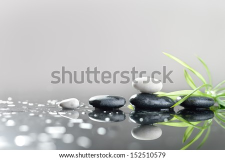 background of a spa with stones, and green leaves ストックフォト ©