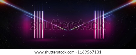 Background of an empty black corridor with neon light. Abstract background with lines and glow. 3d rendering