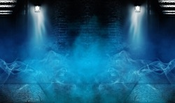 Background of an empty building with brick walls, illuminated by spotlights. View of open elevator doors. Neon light smoke.