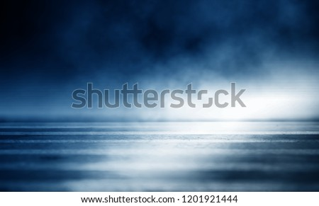 Background of an empty dark room. Empty walls, neon light, smoke, glow #1201921444