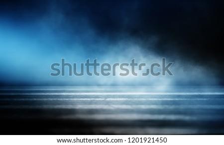 Background of an empty dark room. Empty walls, neon light, smoke, glow #1201921450