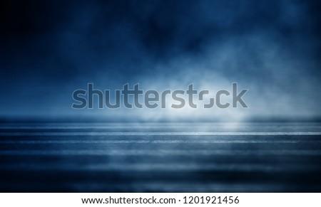Background of an empty dark room. Empty walls, neon light, smoke, glow #1201921456