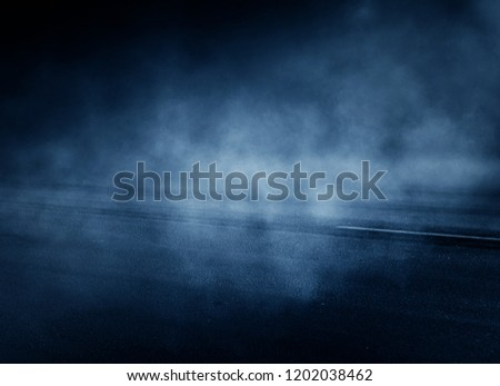 Background of an empty dark room. Empty walls, neon light, smoke, glow #1202038462