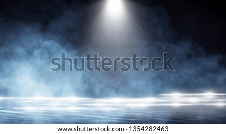 Background of an empty dark room, smoke and dust. #1354282463