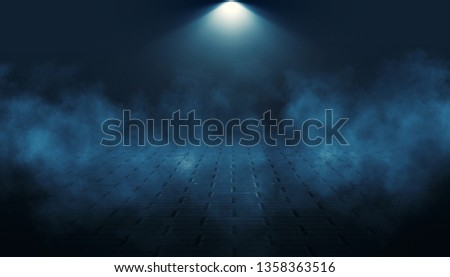 Background of an empty dark street, premises at night, concrete pavement, tile. Neon light, spotlight, smoke, smog #1358363516