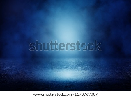 Background of an empty room with smoke and neon light. Dark blue abstract background #1178769007