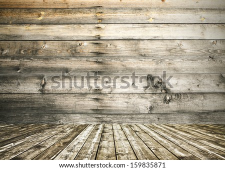 Background of an old natural wood room with messy and grungy texture inside neglected and deserted interior