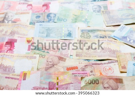 Background of asian currency Singapore, Malaysia, India
