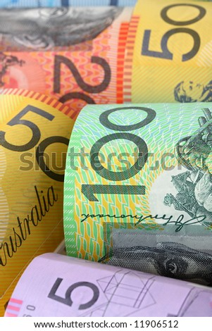 Background of Australian notes, soft-focus.