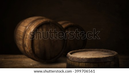 background of barrel and worn old table of wood #399706561