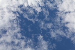 Background of beautiful blue sky with fluffy white clouds shaping frame, low angle view