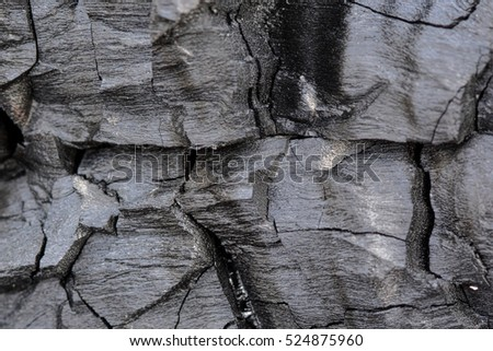 Background of black and grey charcoal with deep cracks #524875960