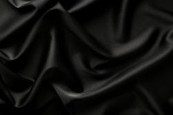 Background of black satin fabric