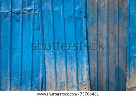 Background of blue corrugated iron