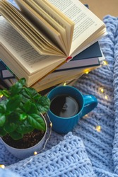 Background of blue knitted plaid and pillows in cosy house with flower in pot and books, mug of tea, a garland. Home place work.