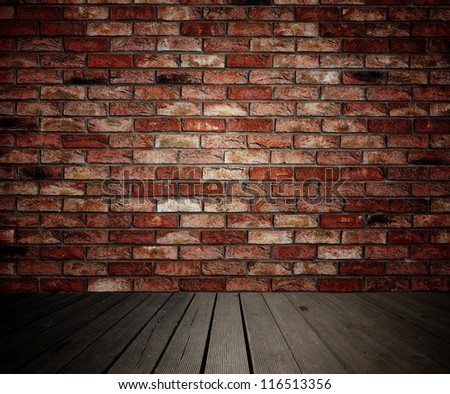 Background of brick wall and wooden planks in old interior