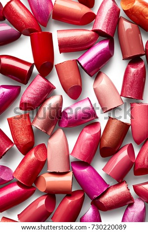 Background of broken lipsticks