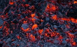 Background of burning hot coals. Burning coals in the brazier. Kindling the fire for the barbecue.