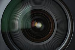 Background of camera lens, close-up,