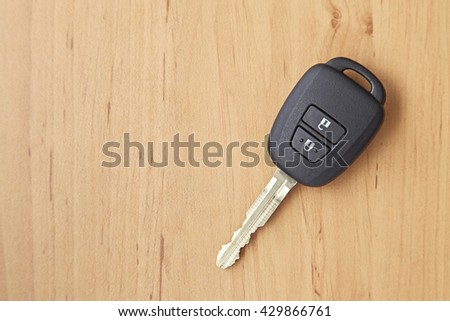 background of car key on the wooden table