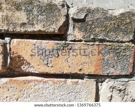 Background of cemented bricks with clinker Zdjęcia stock ©