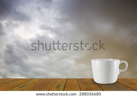 Background of coffee and storm clouds before a thunder-storm