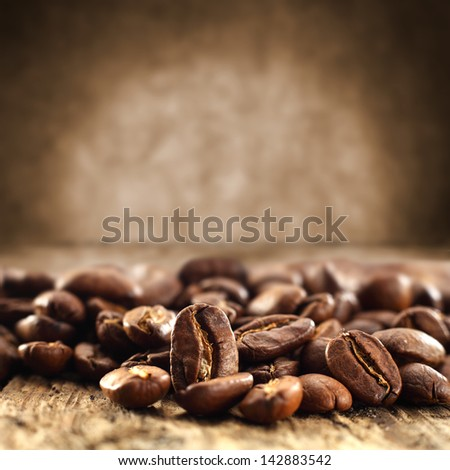 background of coffee beans and brown dirty wall