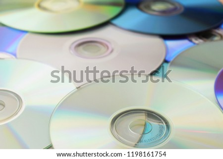 Background of compact discs. CD, DVD music, multimedia. #1198161754