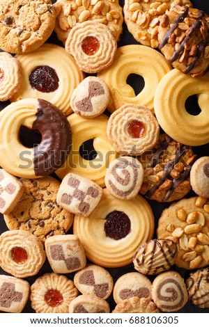 Background of cookies assorted close-up. Vertical view from above #688106305