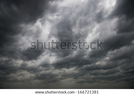 Background of dark clouds before a thunder-storm. #166721381