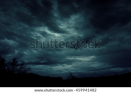 Background of dark sky before a thunder-storm  #459941482
