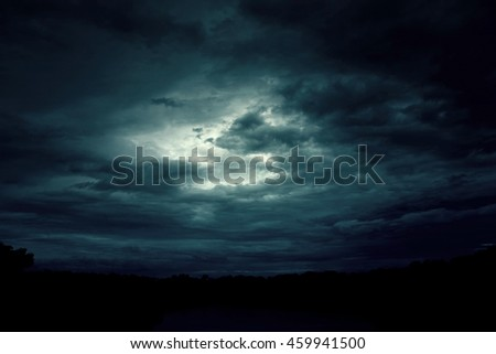 Background of dark sky before a thunder-storm  #459941500