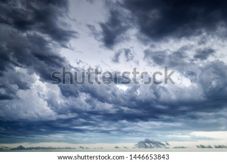 Background of dark stormy sky at summer evening. Dramatic skyscape with large gray clouds. Different cloud types and atmospheric phenomena. #1446653843