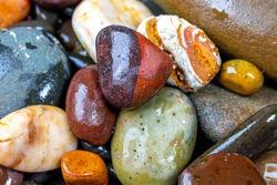 background of decorative polished river stones