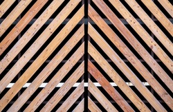 Background of diagonal slanted wooden planks. Vintage style with natural timber.