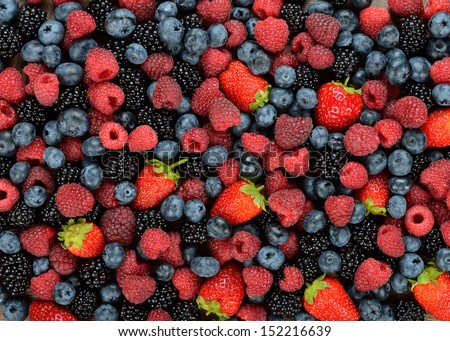 Background of different berries and fruits