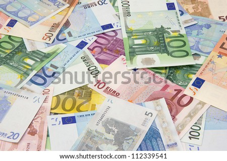 Background of different euro banknotes