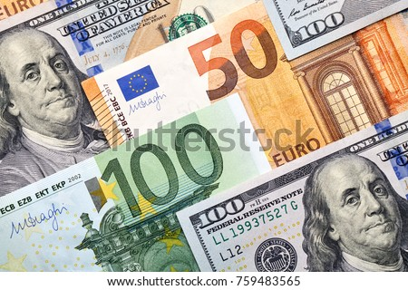 Background of 50, 100 dollar and 50, 100 euro banknotes. Background for your text and design