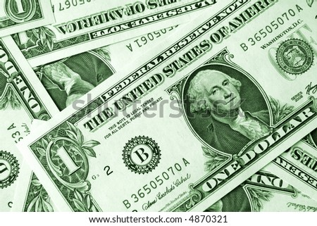 Background of 1 dollar bills, monochrome green toned