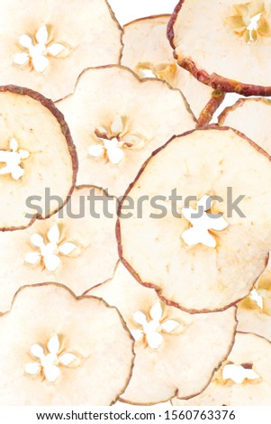 Background of dried apples. Dried apples. apple chips
