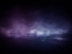Background of empty dark room, street. Concrete floor, asphalt, neon light, smoke, spotlight