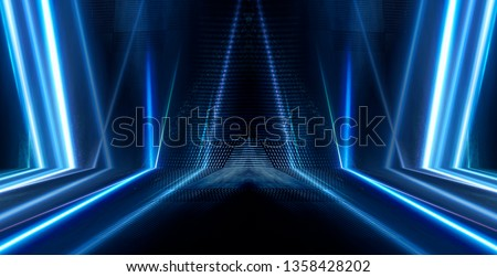 Background of empty dark scene with neon lights, laser figures. Smoke, reflection. Abstract blue background with rays and lines. 3D illustration