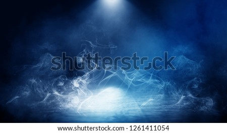 Background of empty foggy dark room, street, illuminated by the spotlight