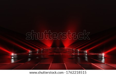 Background of empty red dark podium with lights and tile floor. 3d rendering