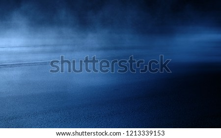 background of empty room at night, concrete floors and walls, neon light, fog, smoke, smog #1213339153