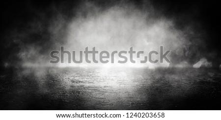 Background of empty room, street, neon light, bokeh, smoke, fog, asphalt, concrete floor