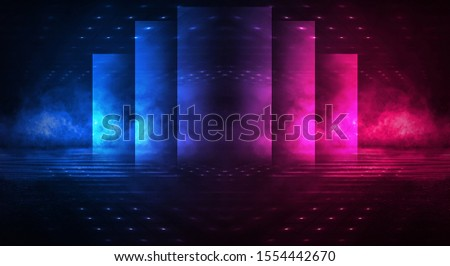 Background of empty stage show. Neon light and laser show. Laser futuristic shapes on a dark background. Abstract dark background with neon glow.