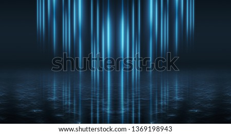 Background of empty street, room. Background of empty scene at night. Concrete coating. Reflection on wet pavement of neon lights. Neon blue lines. Dark abstract background. #1369198943